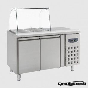 Combisteel 7950.0410 : 314 Ltr 2 Door Under Counter Saladette Container With Glass Cover